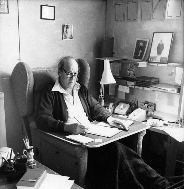 Roald Dahl at work in his writing hut at Gipsy House, Great Missenden, Buckinghamshire.